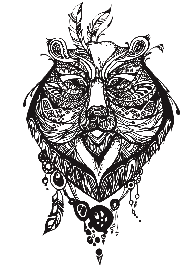 Totem drawing. Bear tattoo transprent png