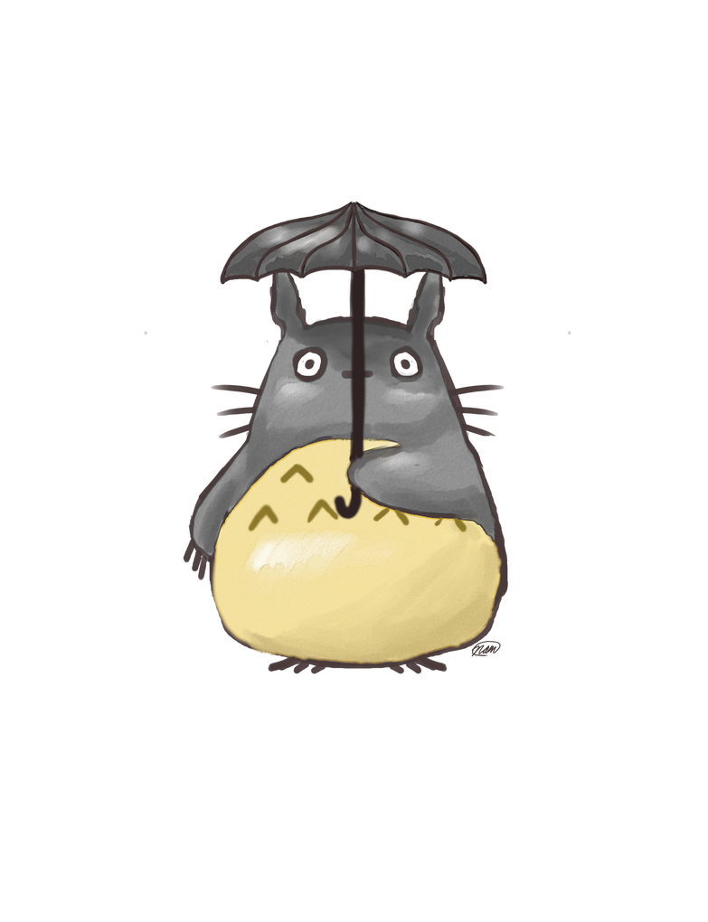 Watercolor under an by. Totoro umbrella png banner stock