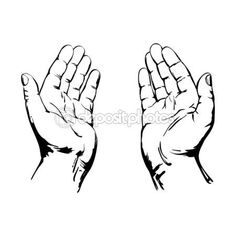 Touch clipart hand open. How to draw cupped