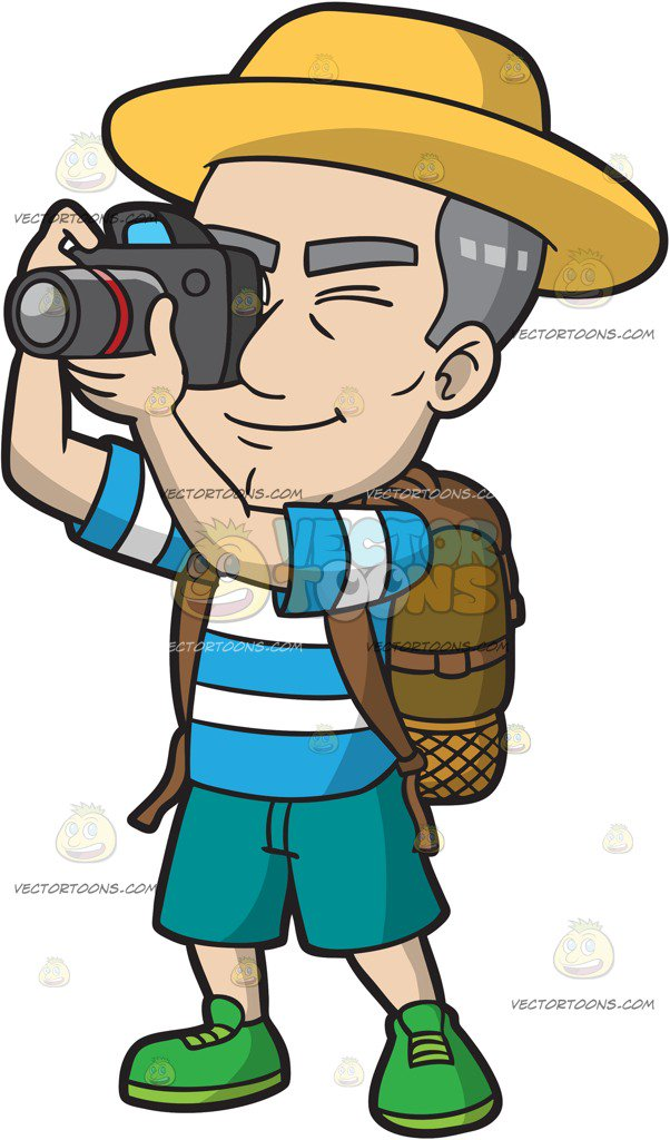 A mature male snapping. Tourist clipart banner free