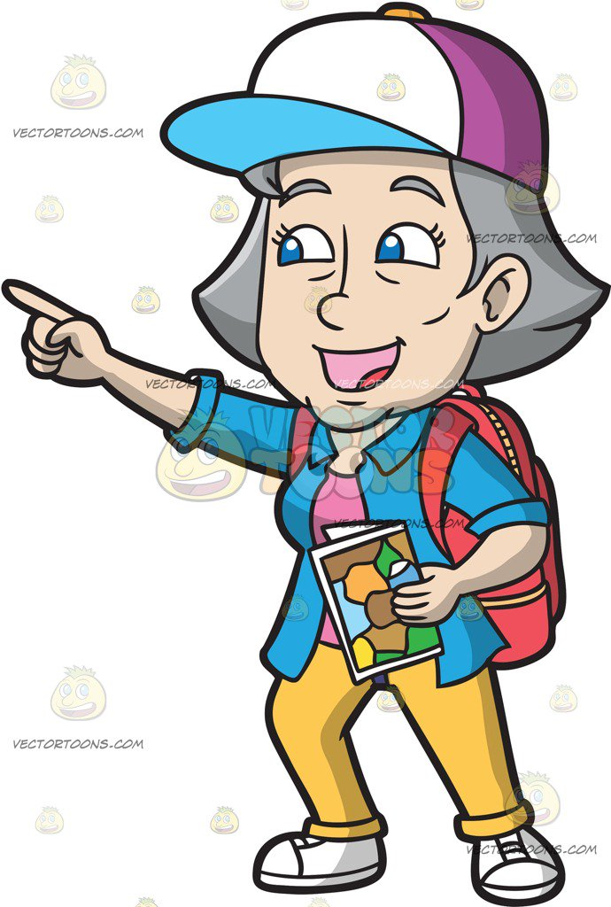 Tourist clipart. An excited mature female clip royalty free download