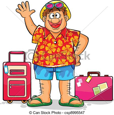 Tourist clipart. Happy in summer clothes image freeuse library