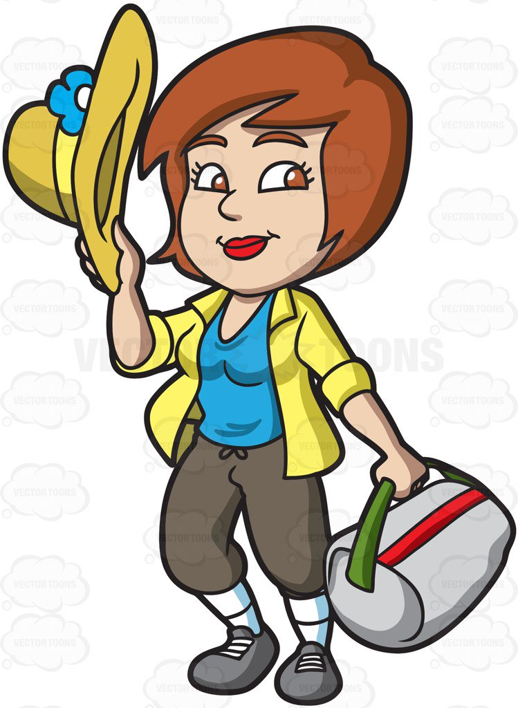 Tourist clipart. A happy female cartoon image royalty free