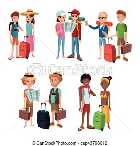 Collection couples traveling baggage. Tourist clipart queue clip art library library