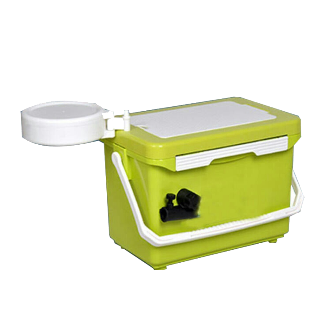 Towel transparent box. Icon green cleaning bucket