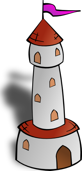 Tower clipart. Round with flag clip