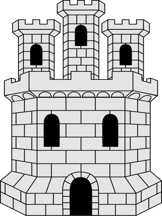 Castle clip tower. Coat of arms fortified