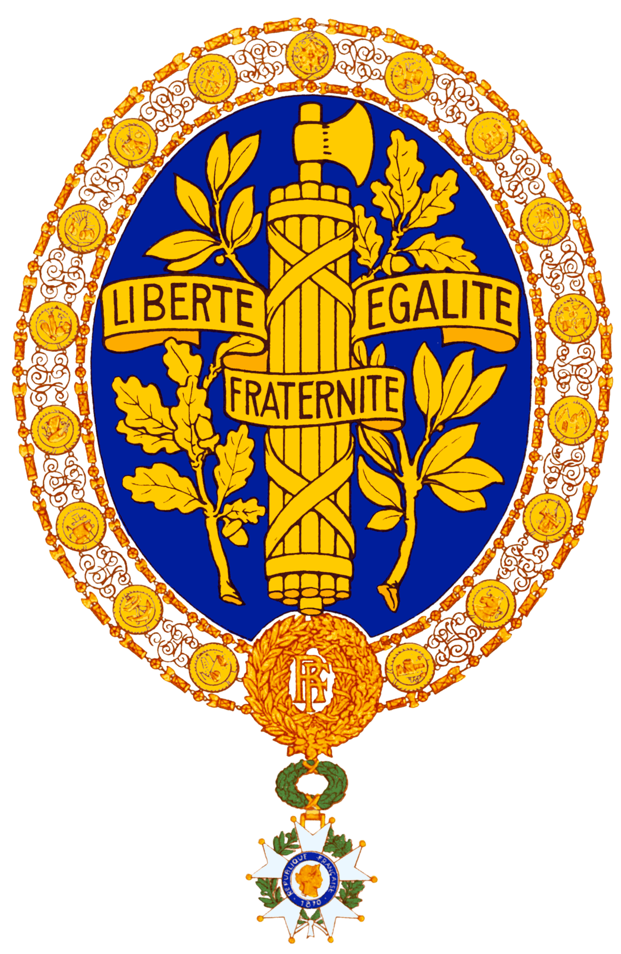 French drawing symbolistic. National emblem of france