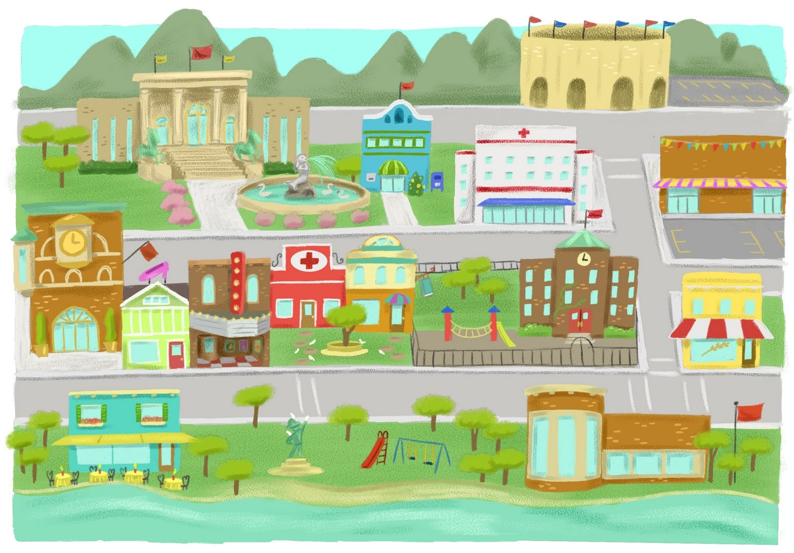 Town clipart. Awesome design digital collection
