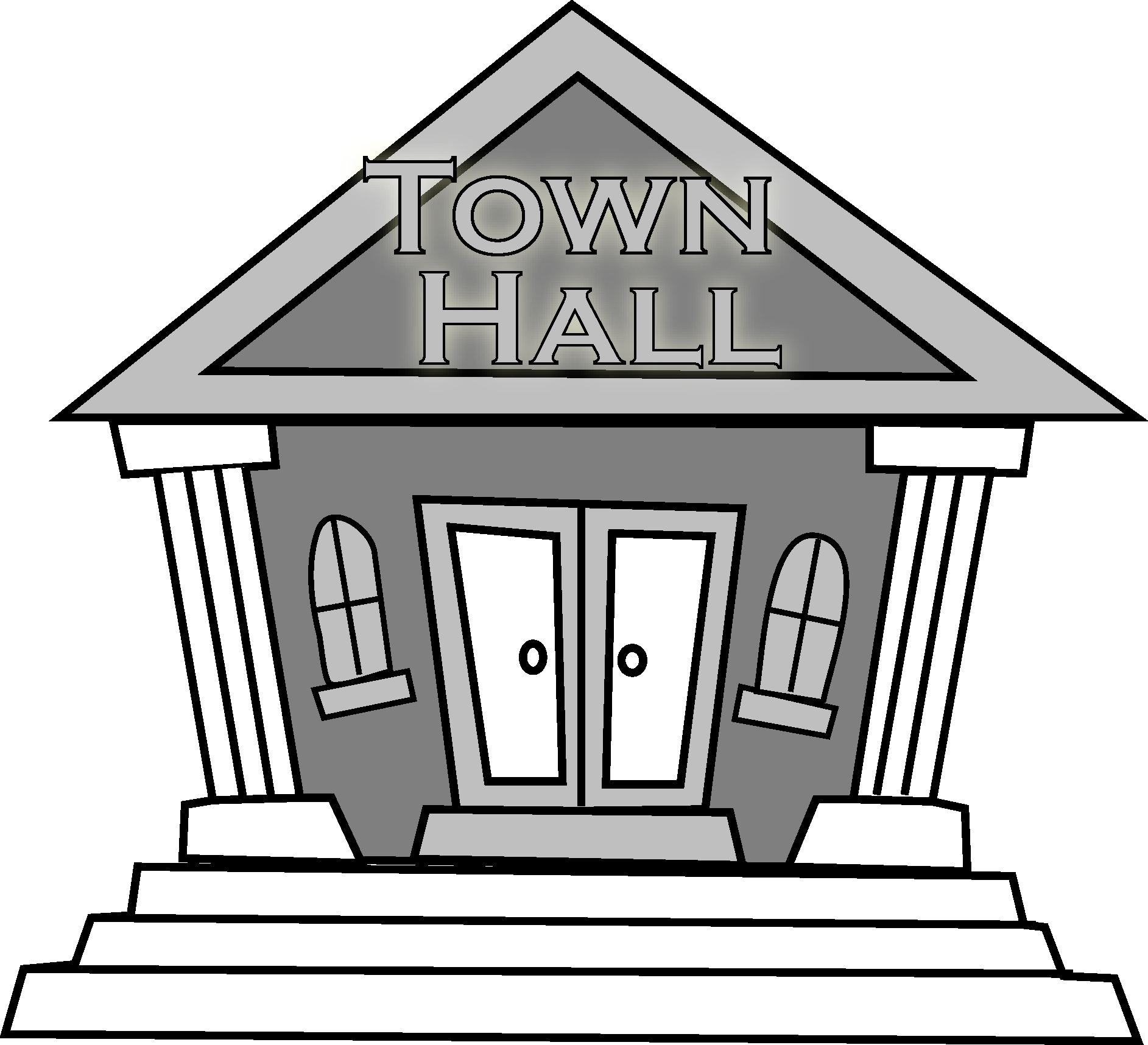 Town clipart buliding. Hall building