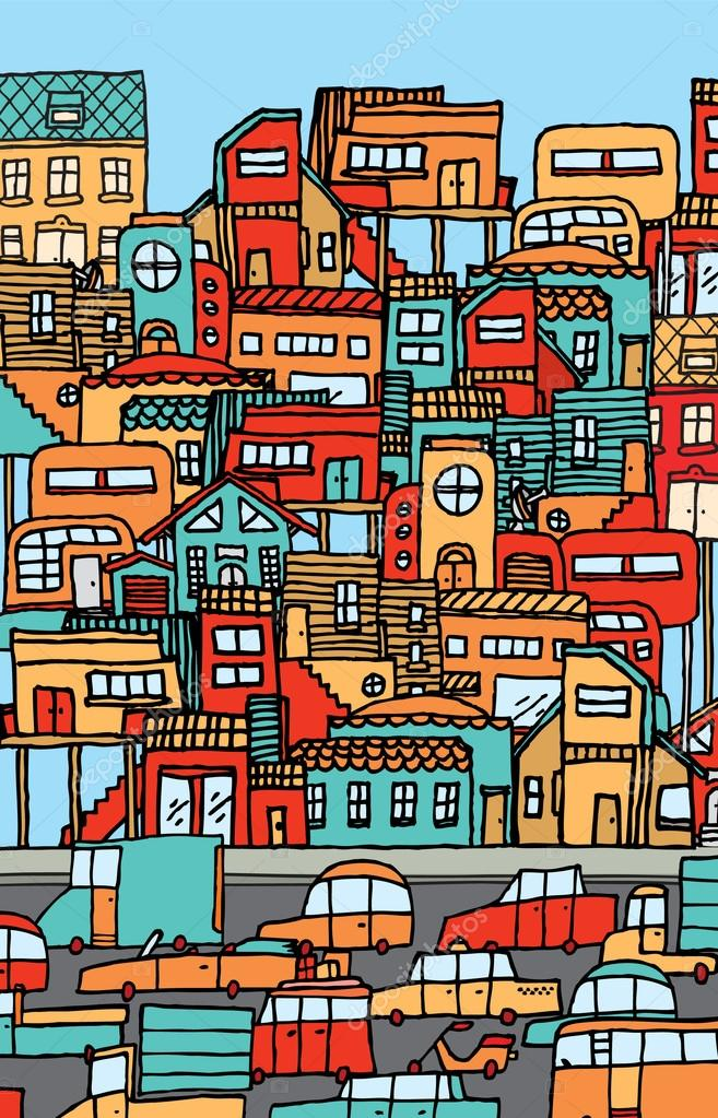 Town clipart crowded city. Overpopulation or full of