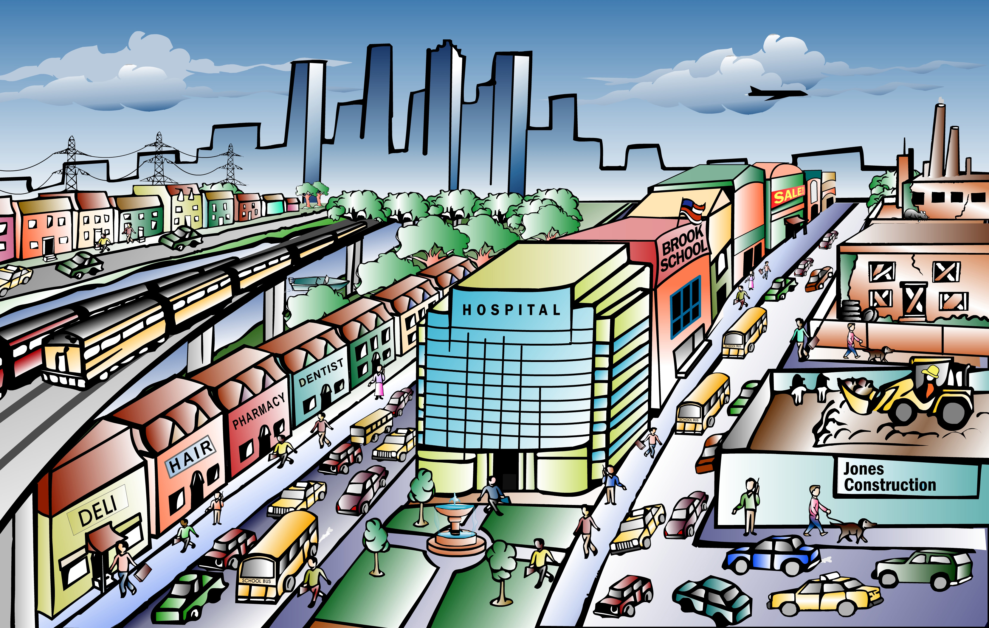 Town clipart kind community. City