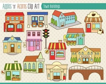 Town clipart printable. Pictures community buildings coloring