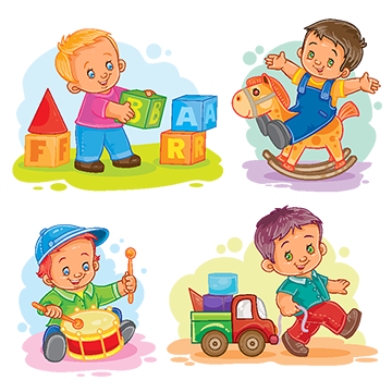 Toys vector kid items. Little boy playing with