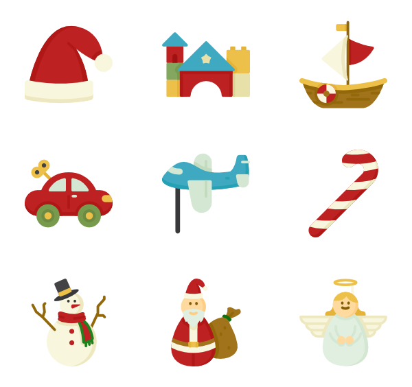 Toys vector flat. Icons free christmas