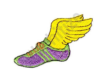 Track clipart shoe hermes. Winged etsy machine embroidery