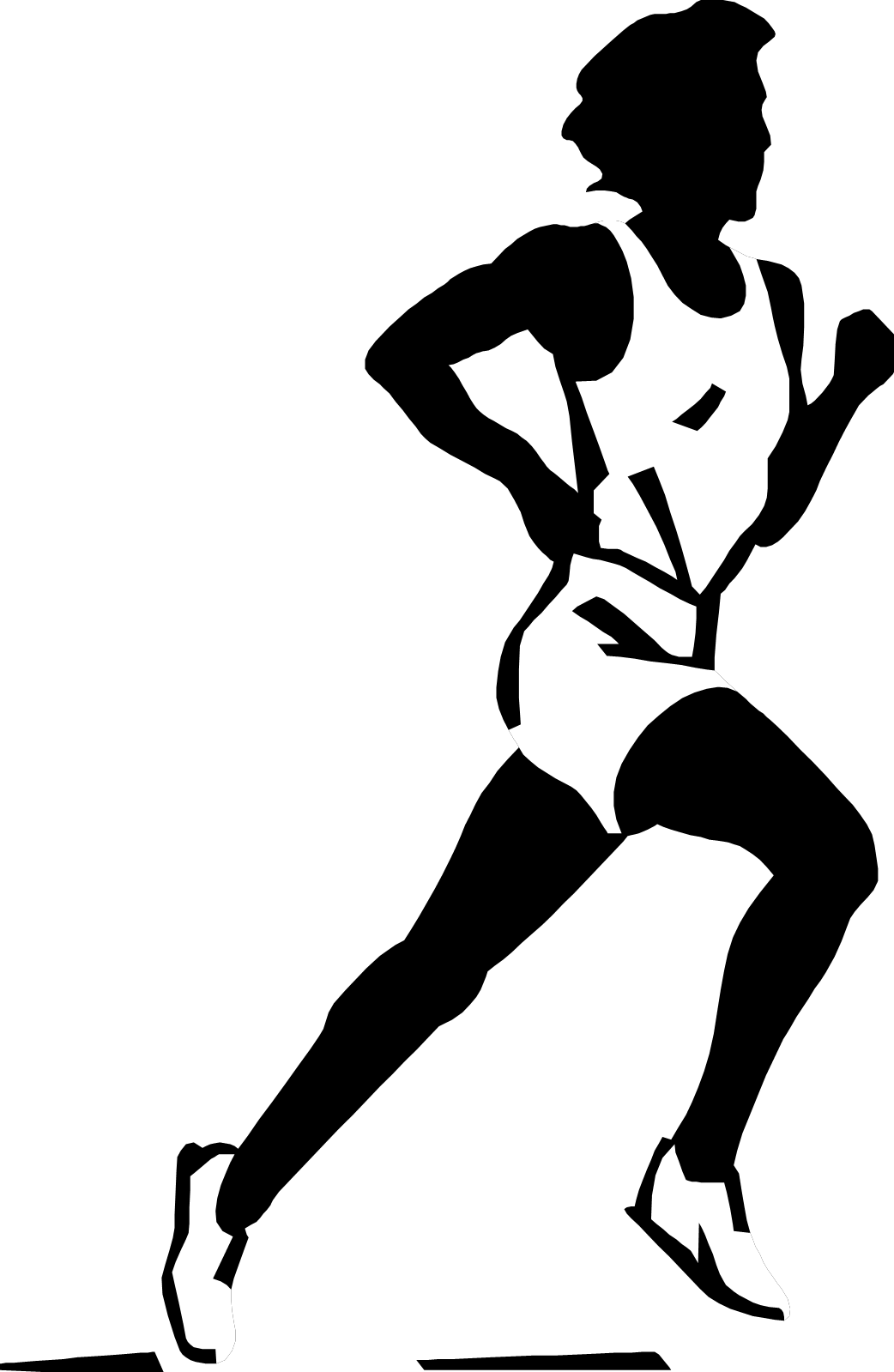 Track runner png. Run black and white