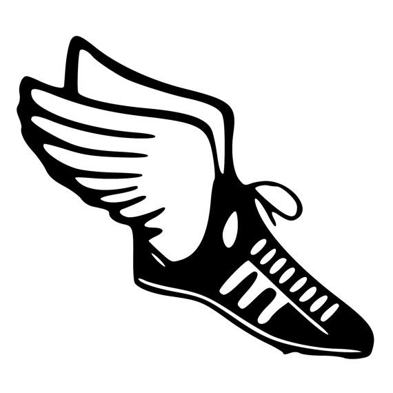 Tracks clipart field runner. Track shoe with wings