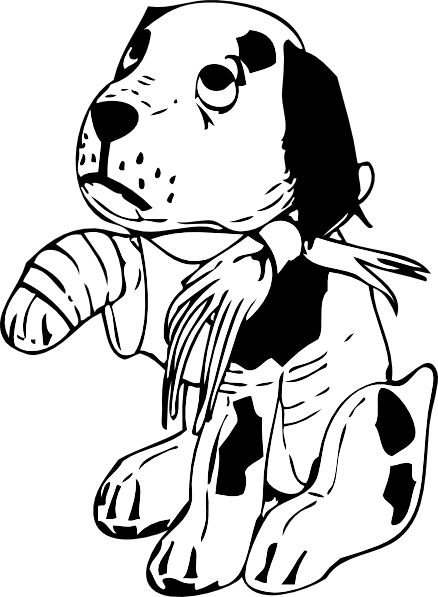 Broken clipart broken ankle. Sad dog drawing at