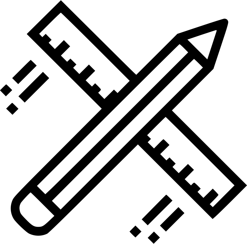 Trade drawing icon. Pencil ruler design flying