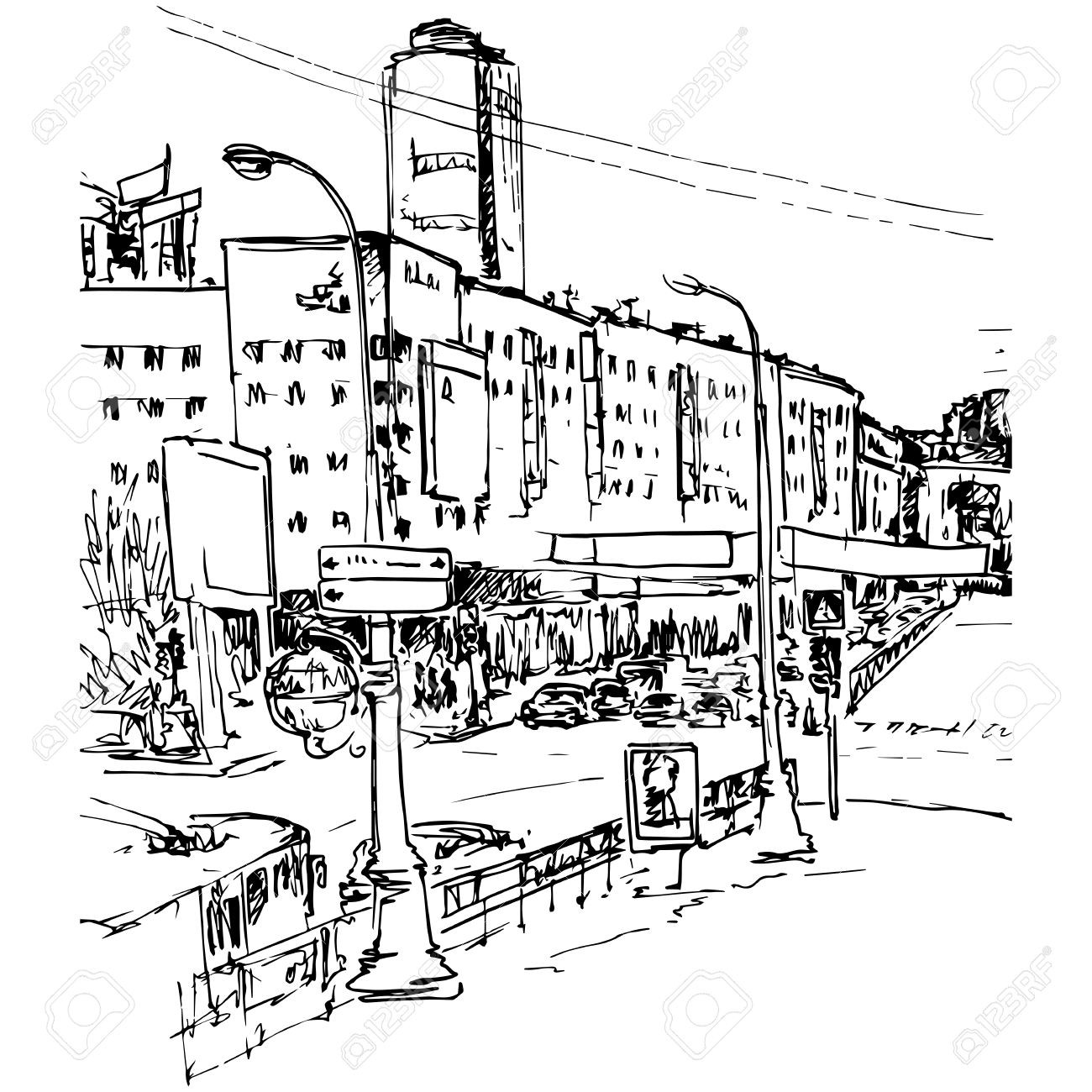 Traffic clipart sketch city. Urban street with buildings