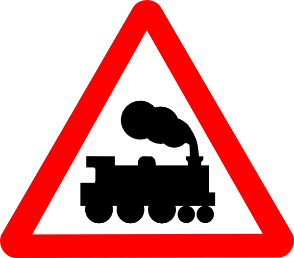 Train clipart gate. Road signs clip art