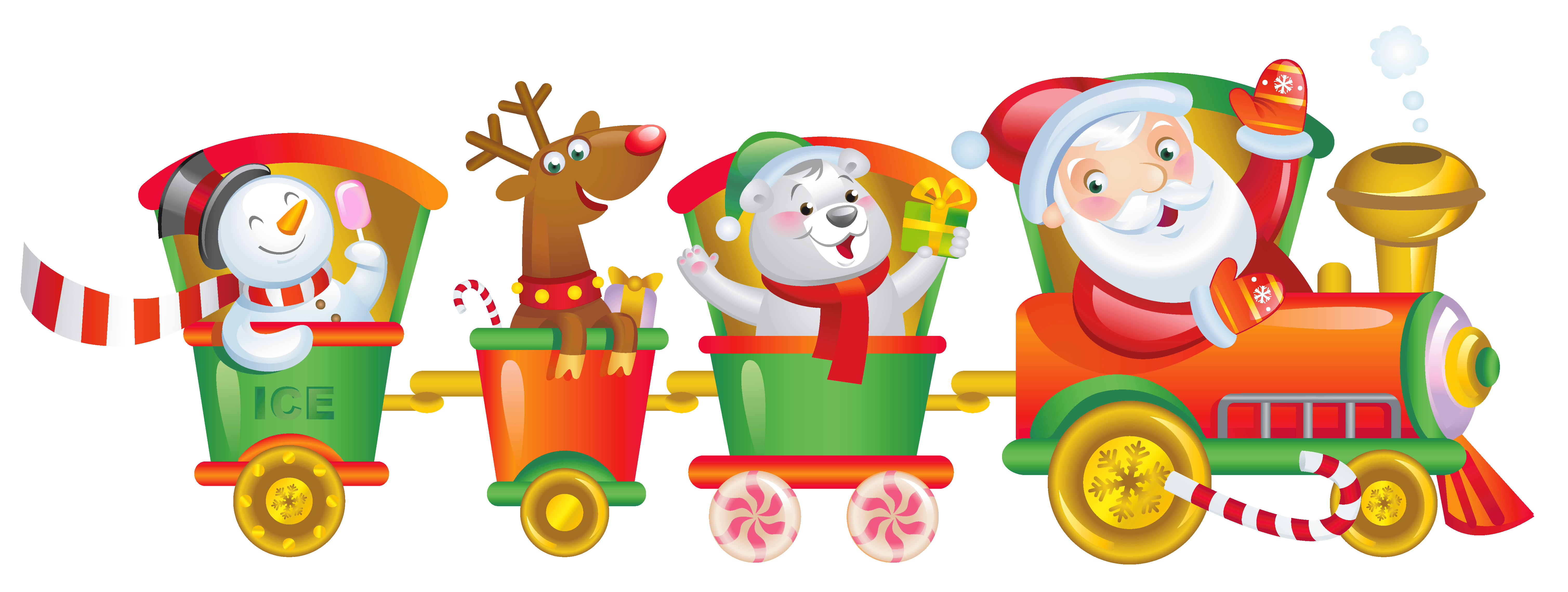 Transparent train christmas. Santa png clipart gallery