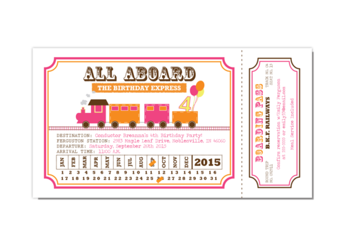 Train ticket png. Pink and orange girl