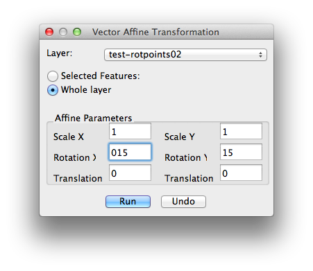 Transformation vector affine. Rotating a layer in