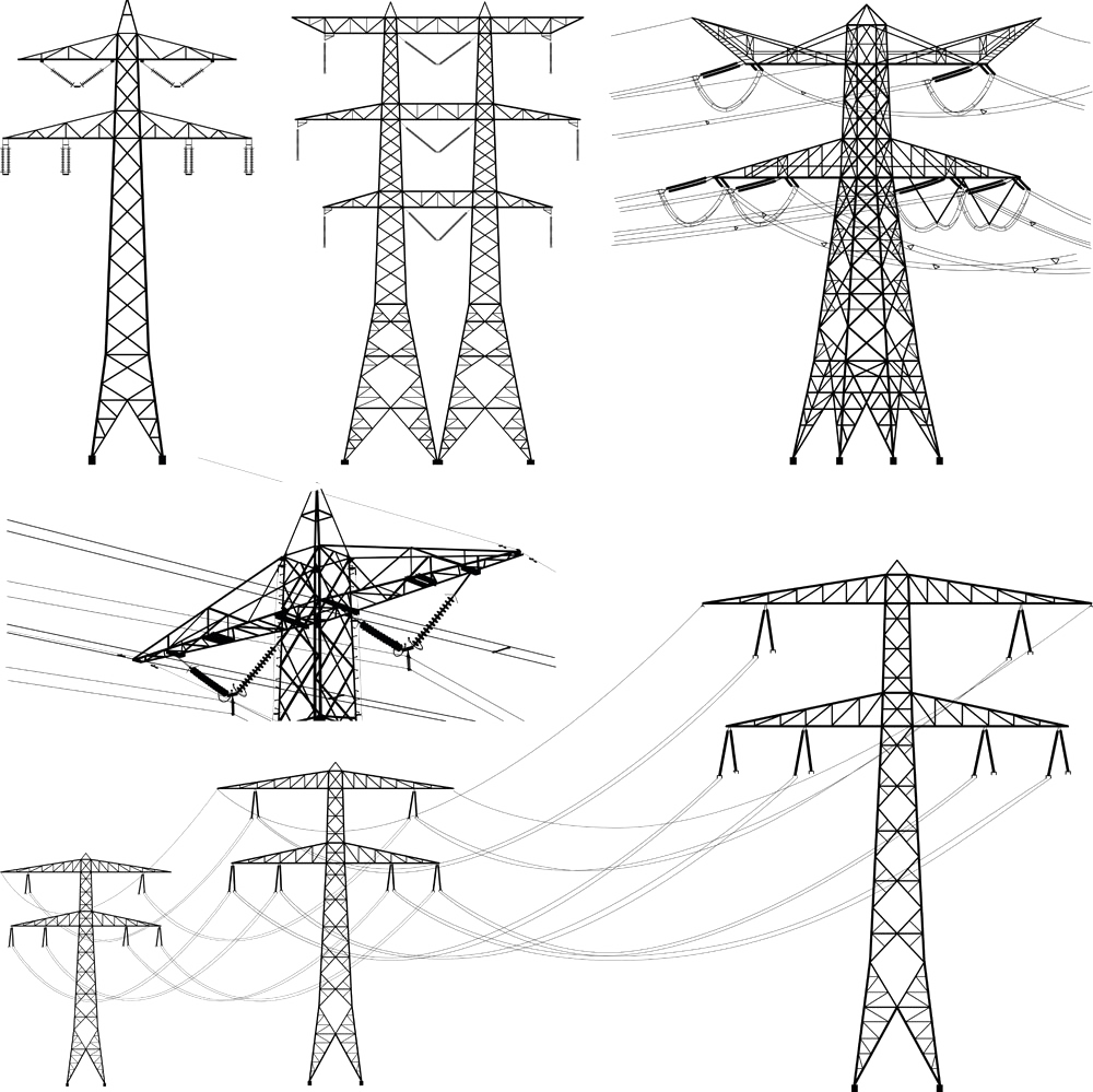 Transmission drawing art. Tower overhead power line