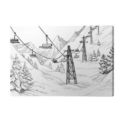 Transmission drawing pencil. Mountain ski lift chairs