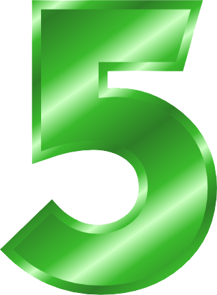 Transparent 5 green. Number png images free