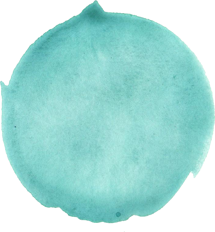 Transparent 5 teal. Turquoise watercolor circle