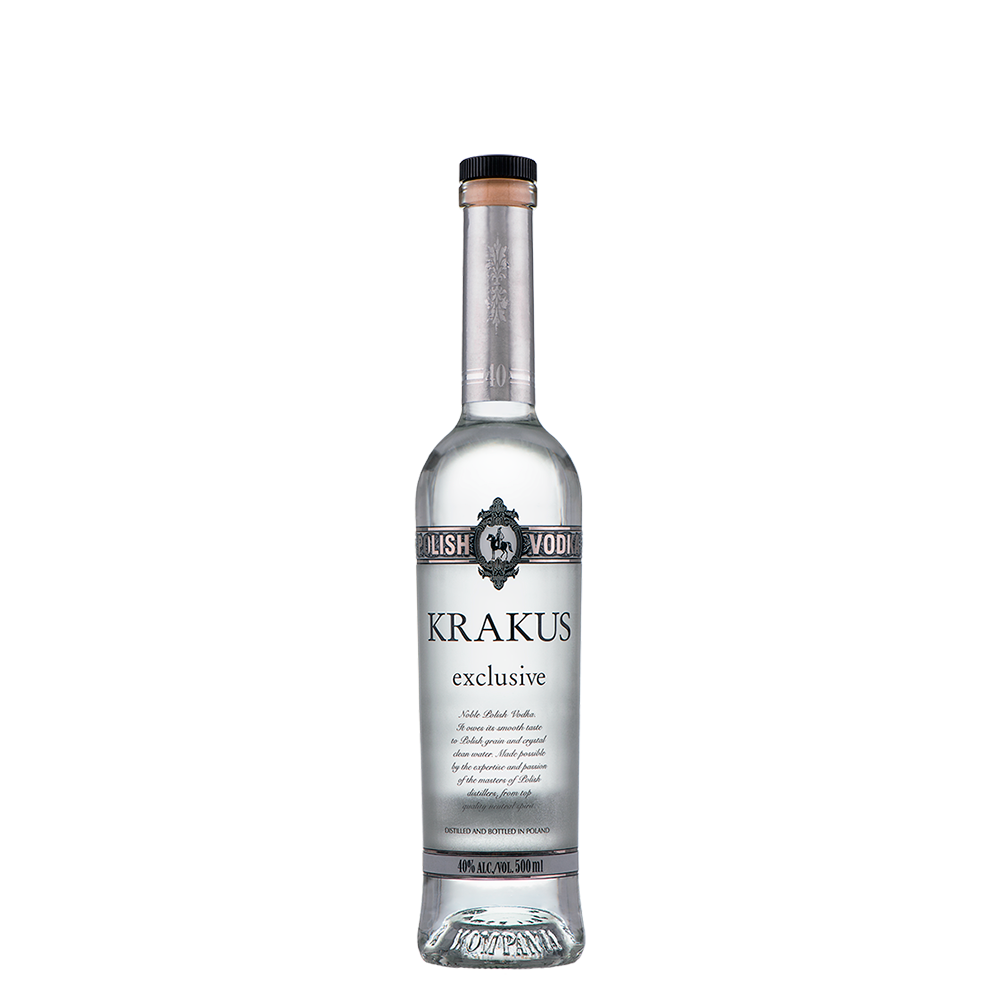 Transparent alcohol different form. Krakus exclusive akwawit next