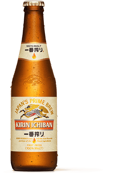 Transparent alcohol different form. Kirin ichiban brand story