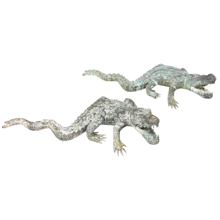Transparent alligator bronze. Sculptures of alligators chairish