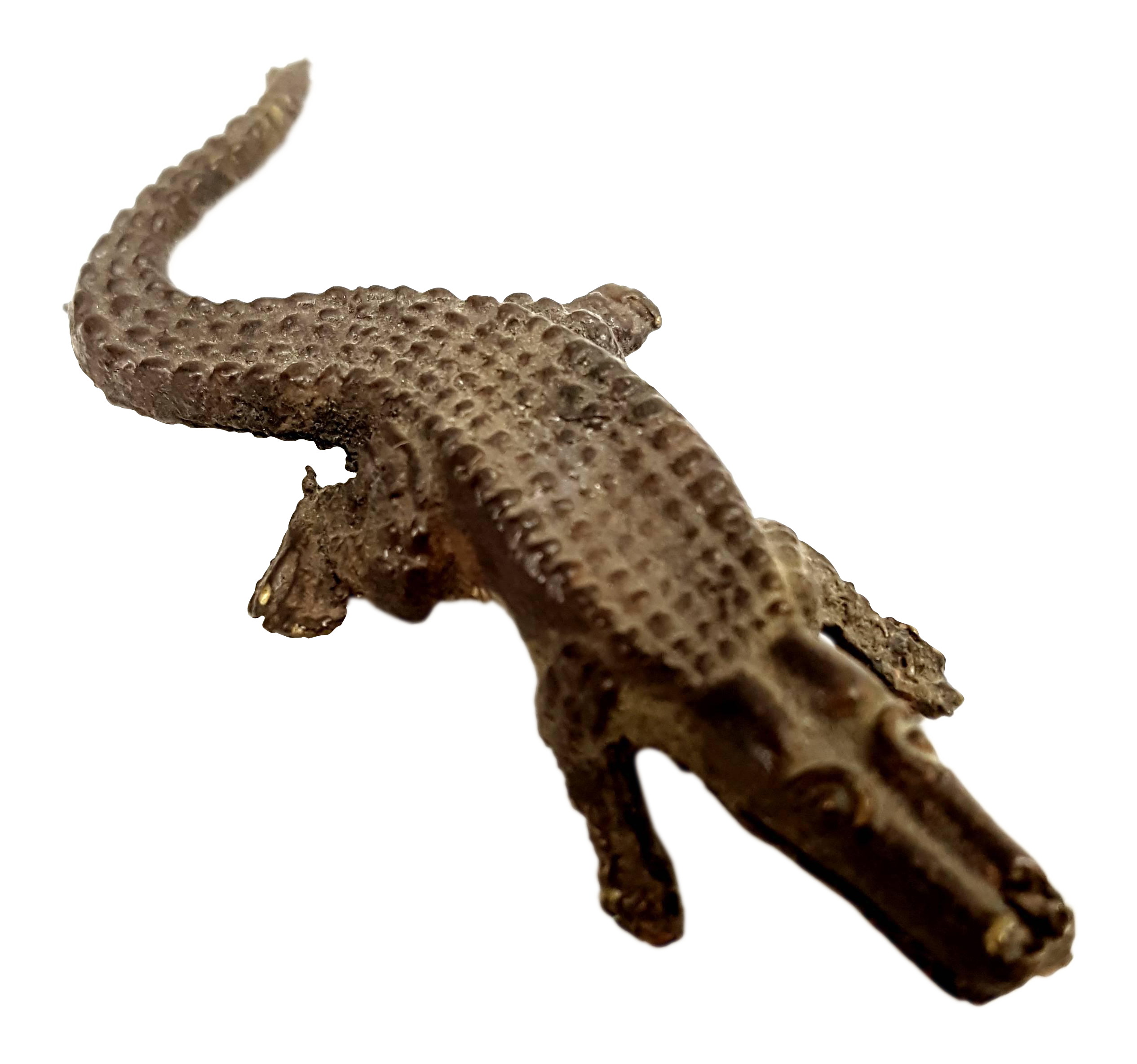 Transparent alligator bronze. Antique miniature sculpture chairish
