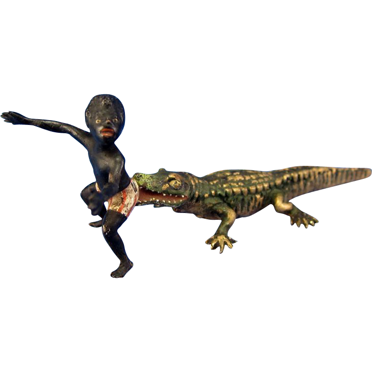 Transparent alligator bronze. Antique vienna cold painted
