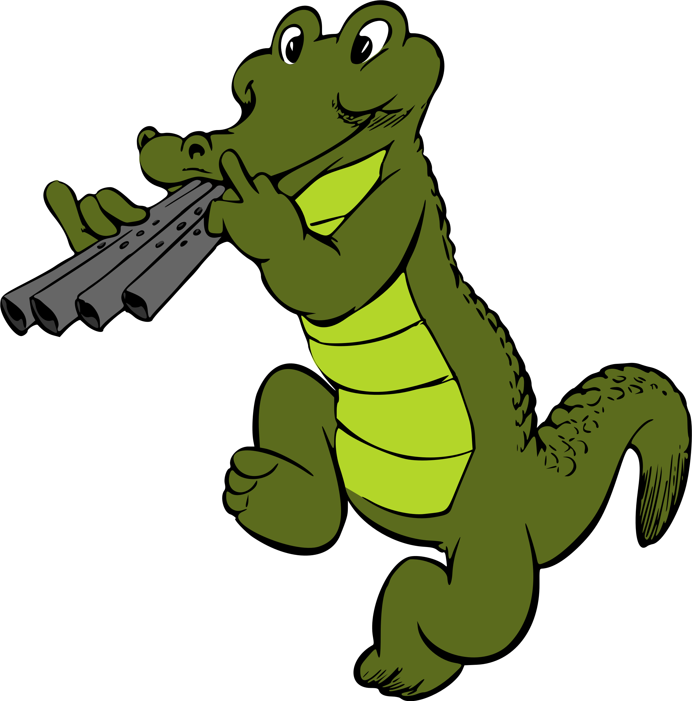 Transparent alligator colored. Musical crocodile colour icons