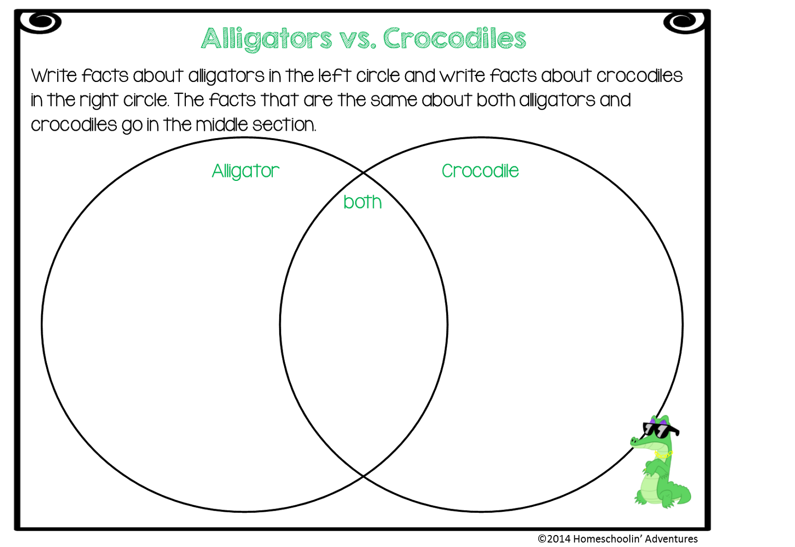Transparent alligator diagram. Homeschoolin adventures reptiles unit
