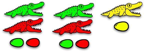 Transparent alligator diagram. Eggs continuing with the