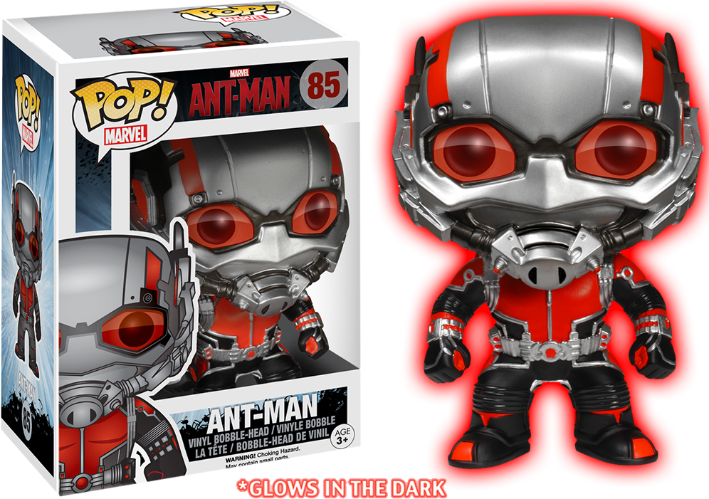 Transparent ant glow in dark. Image pop vinyl man