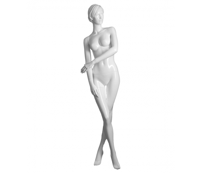 Transparent mannequins acrylic. Realistic glossy white female