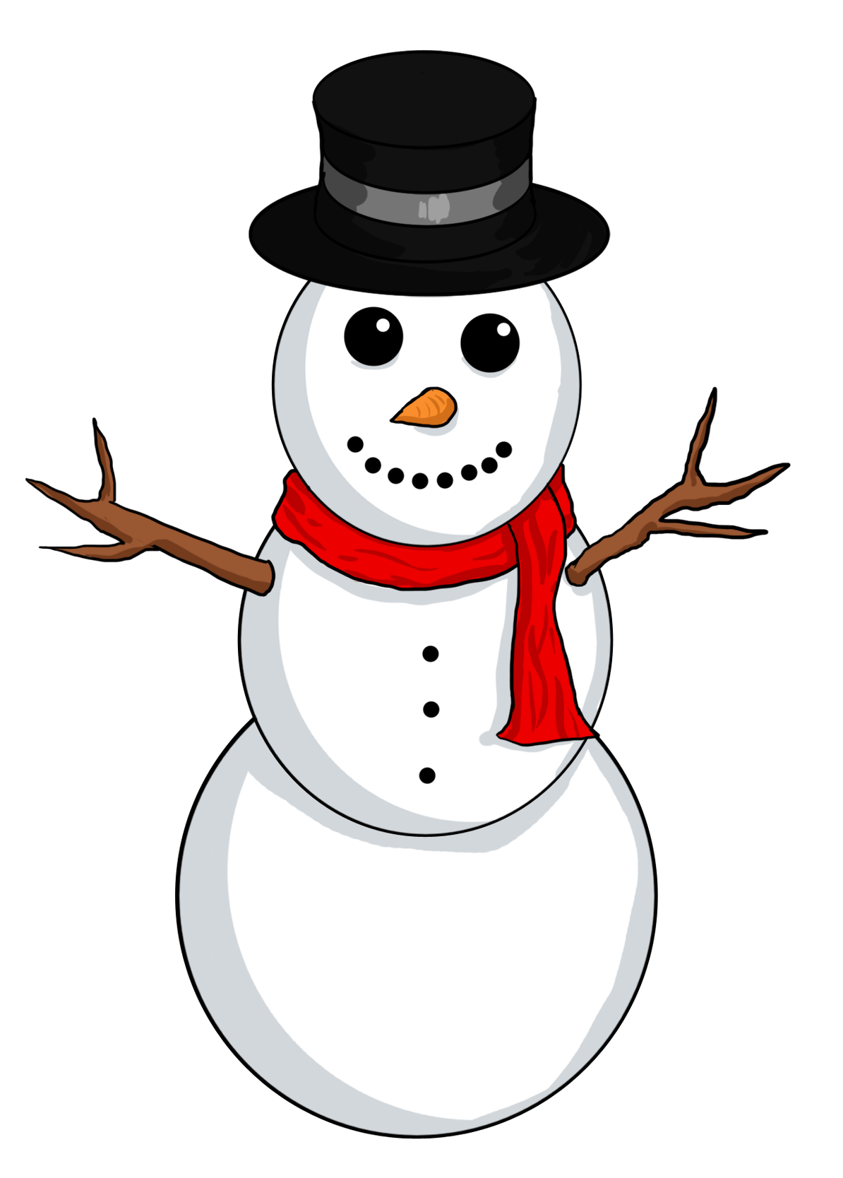 Transparent arms snowman stick. Shoveling tales from a