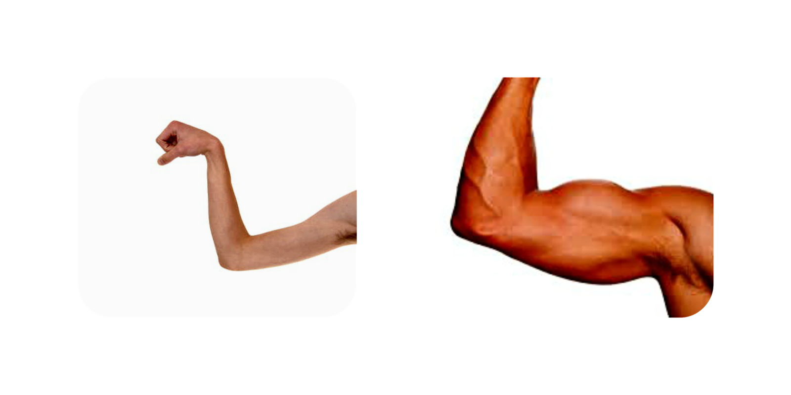 Transparent arms weak. Muscles and strong