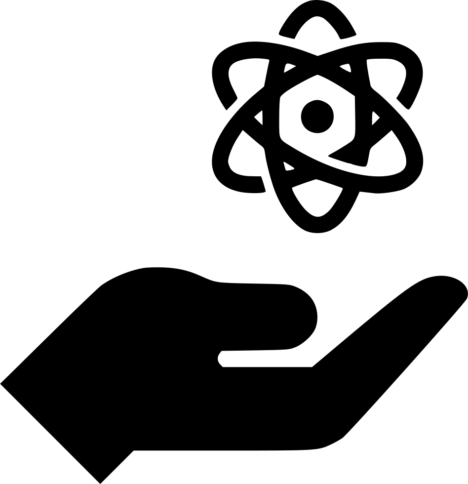 Transparent atom hand. Nuclear svg png icon