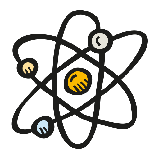 Transparent atom hand. Icon free of space
