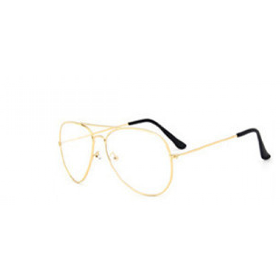 Transparent aviators eyeglasses. Clear metal aviator gold