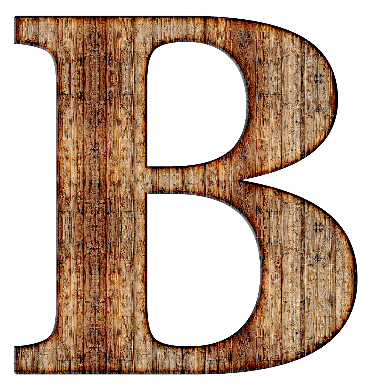 Transparent b brown. Wooden capital letter png
