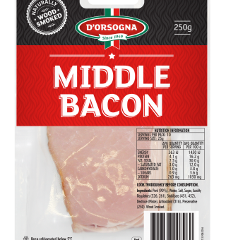 Transparent bacon middle cut. D orsogna g